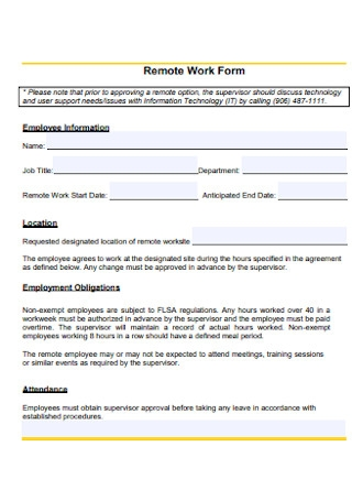 Remote Work Form
