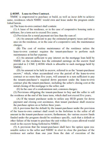 Rent and Lease to Own Contract