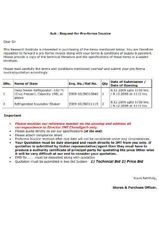 Request for Pro forma Invoice
