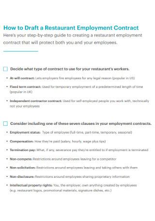Restaurant Employment Contract