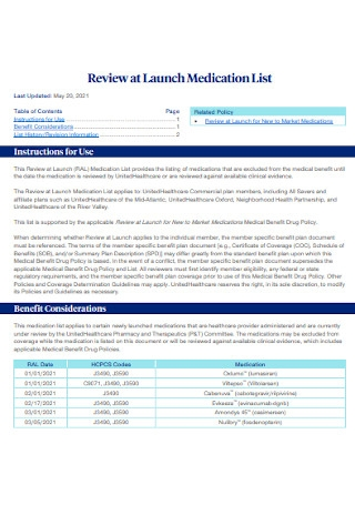 Review at Launch Medication List