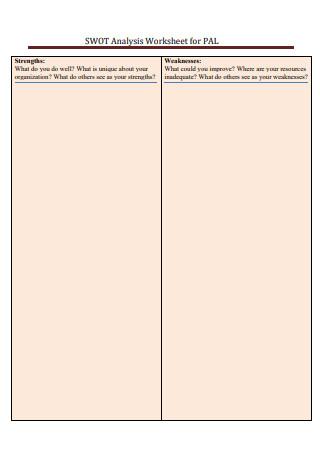 SWOT Analysis Blank Worksheet