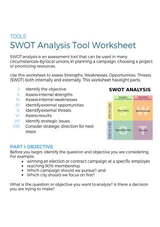 SWOT Analysis Tool Worksheet