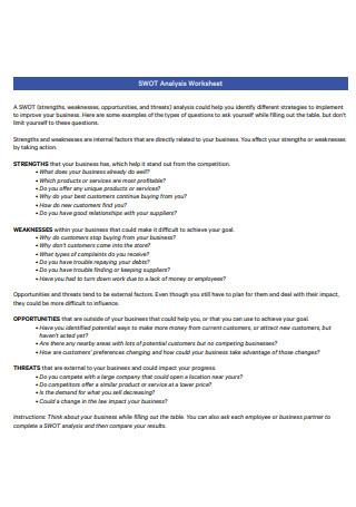 SWOT Analysis Worksheet Template