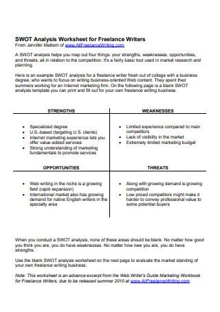 SWOT Analysis Worksheet for Freelance Writers