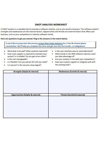 SWOT Analysis Worksheet in PDF