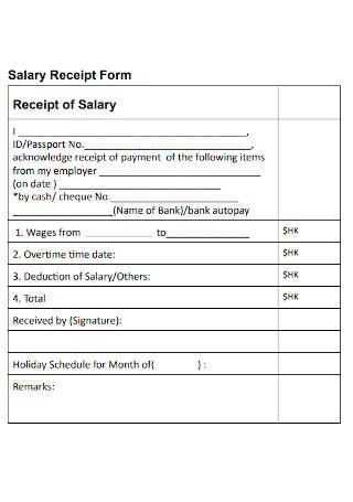 Salary Receipt Form