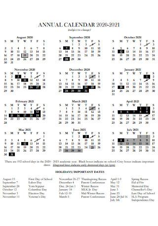 Sample Annual Calendar