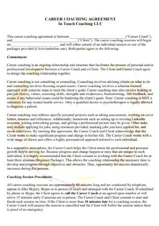 Sample Career Coaching Agreement