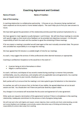 Sample Coaching Agreement and Contract