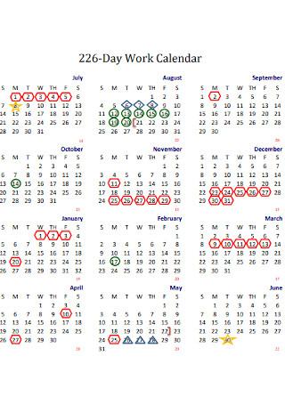 Sample Day Work Calendar
