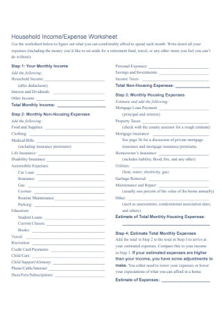 Sample Household Income and Expense Worksheet