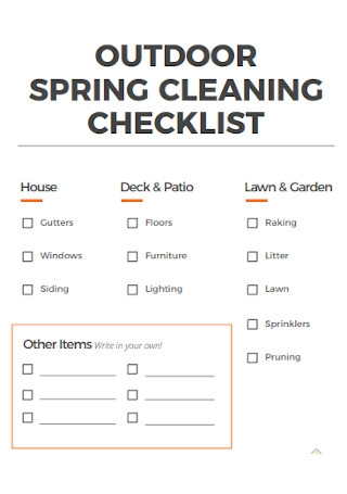 Sample Outdoor Spring Cleaning Checklist
