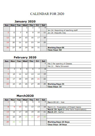 Sample Quaterly Calendar