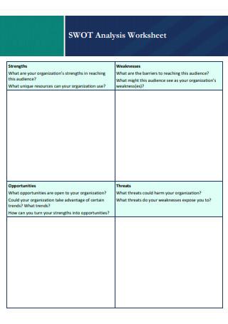 Sample SWOT Analysis Worksheet
