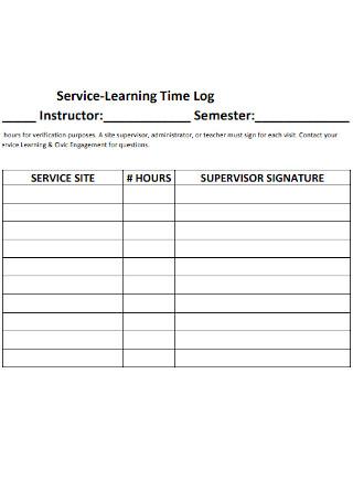 Sample Service Learning Time Log