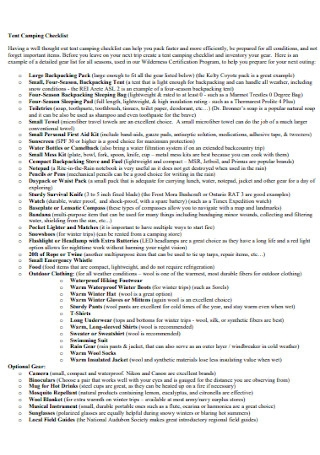 Sample Tent Camping Checklist