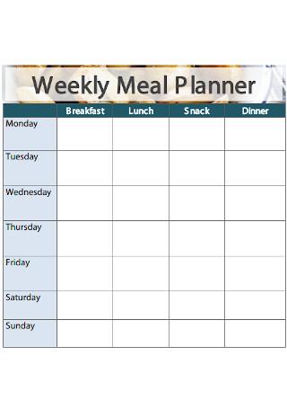 Sample Weekly Meal Planner