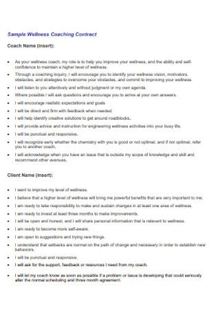 Sample Wellness Coaching Contract