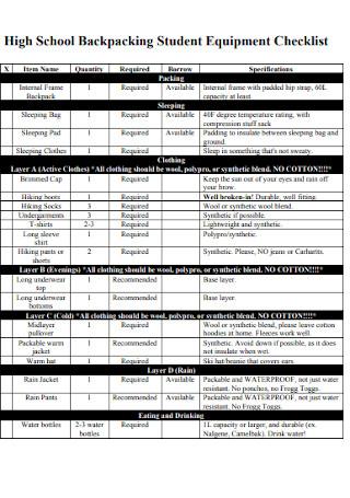 School Backpacking Student Equipment Checklist