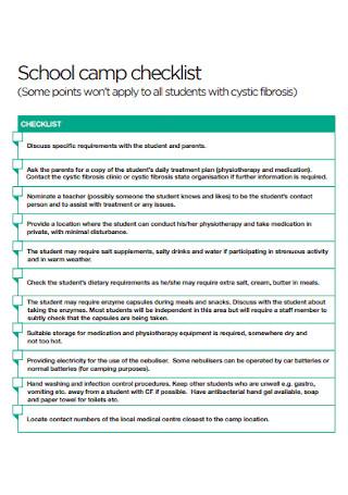 School Camp Checklist
