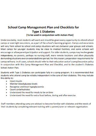 School Camp Management Plan and Checklist