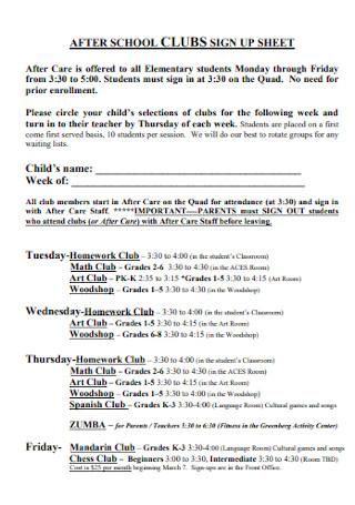 School Club Sign up Sheet
