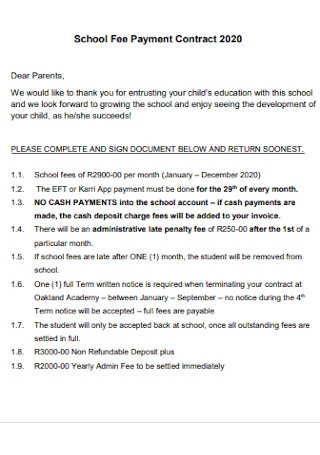 School Fee Payment Contract