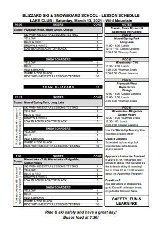 School Lesson Schedule