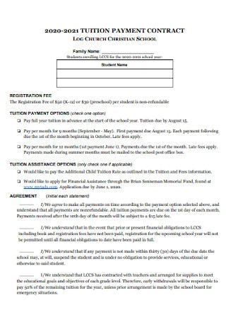 School Tution Payment Contract