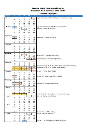 School Work Calendar