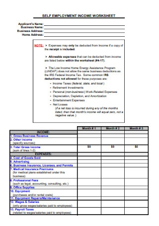 Self Employment Income Worksheet
