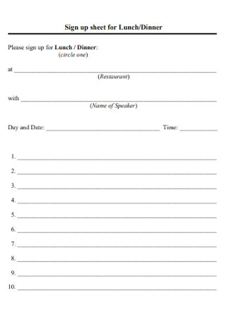 Sign up sheet for Lunch
