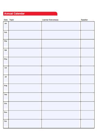 Simple Annual Calendar