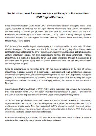 Social Investment Partners Announces Receipt
