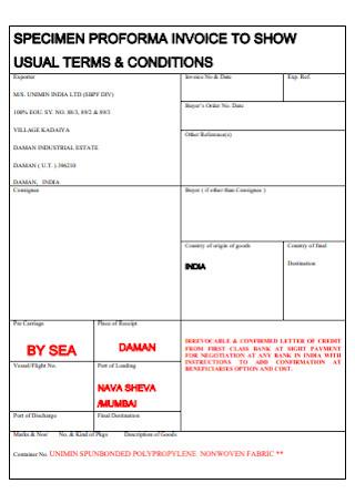 Specimen Proforma Invoice