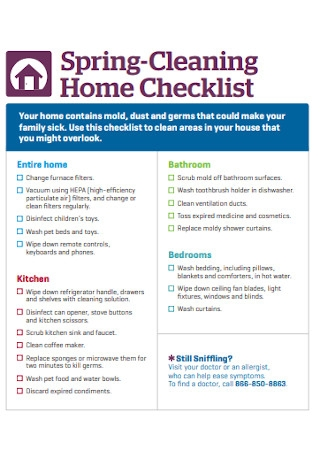 Spring Cleaning Home Checklist