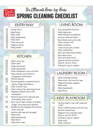 Spring Room Cleaning Checklist