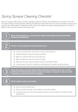 Spring Sprayer Cleaning Checklist