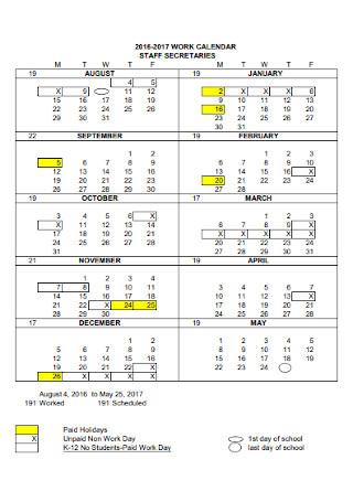 Staff Work Calendar