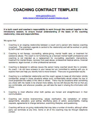 Standard Coaching COntract