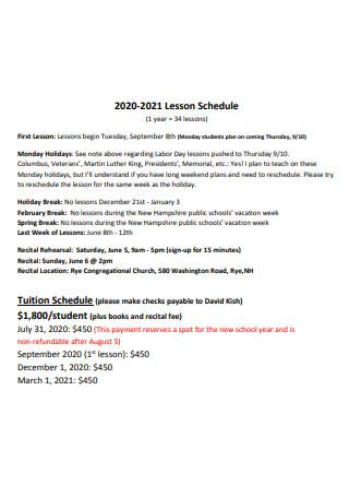 Standard Lesson Schedule