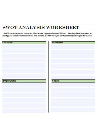 Standard SWOT Analysis Worksheet