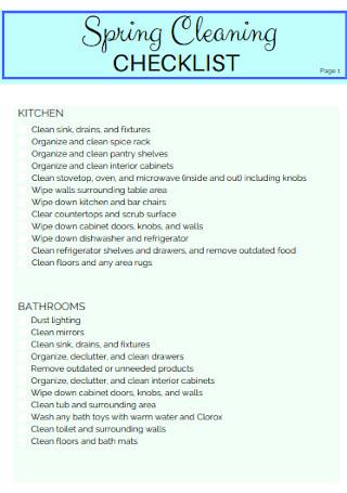 Standard Spring Cleaning Checklist
