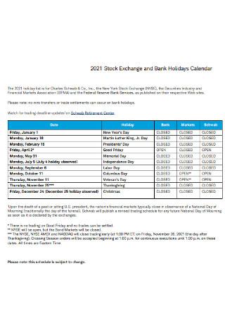 Stock Exchange and Bank Holidays Calendar