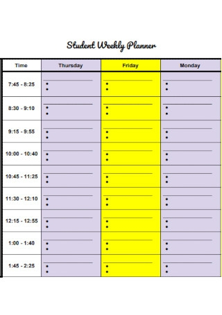 Student Weekly Planner Format