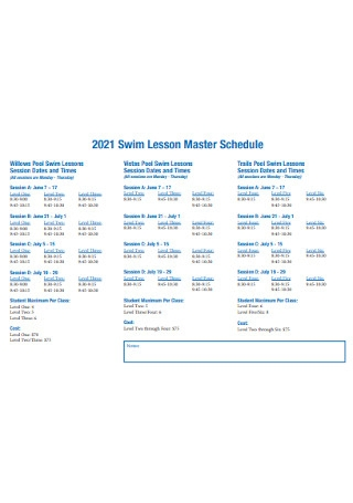 Swim Lesson Master Schedule