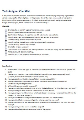 Task Assigner Checklist