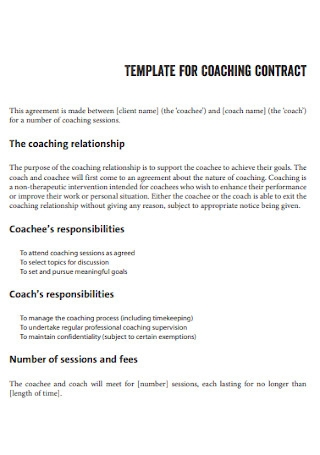 Template for Coaching Contract
