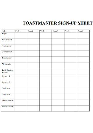 Toastmaster Sign Up Sheet